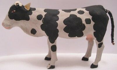 Old 1920s Unusual Painted Composition Farm Cow for Christmas Village SPOTTY!