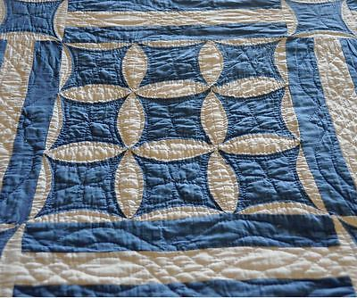 1930's BLUE/WHITE VISUAL MASTERPIECE- SUPERB ORANGE PEEL ANTIQUE VINTAGE QUILT
