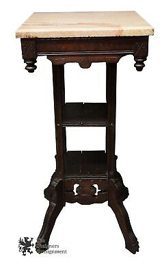 19th Century Victorian Eastlake Walnut Carved Pedestal Granite Top Accent Table