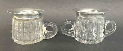 Antique Cut Crystal And Stering Silver Miniature Creamer/sugar Set