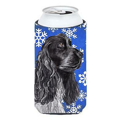 Cocker Spaniel Blue Snowflake Winter Tall Boy bottle sleeve Hugger 22 To 24 oz.