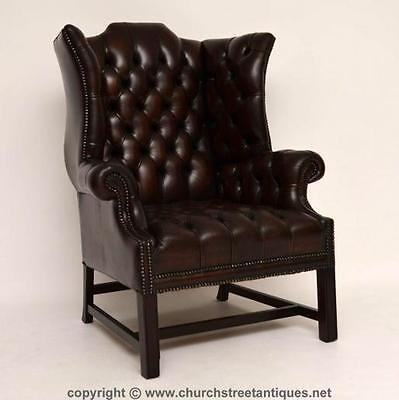 Antique Deep Buttoned Leather Wing Armchair - Original Leather