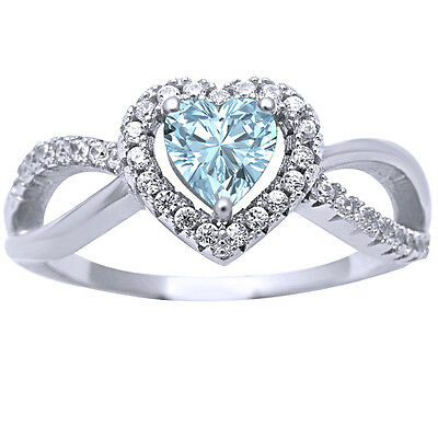 .925 Sterling Silver Aquamarine Infinity Heart Twisted Ring