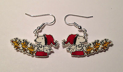 Snoopy Earrings Snoopy Santa Woodstock Reindeers Christmas Charms
