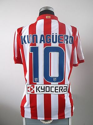 KUN AGUERO #10 Atletico Madrid Home Football Shirt Jersey 2009/10 (L)