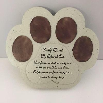 New CAT PAW MEMORIAL STONE Sadly Missed My Beloved Cat Grave Plaque Remembrance