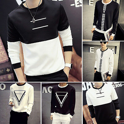 CHIC New Stylish Slim Fit Casual Shirt Tee Cotton Men's Long Sleeve T-Shirt Hot