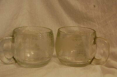 2 Nestle World Map Globe Frosted Glass Coffee Mugs Cups Nescafe Vtg Advertising