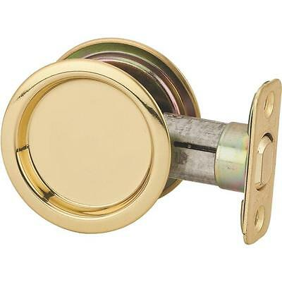 3 Pk Polished Brass Round Recessed Pocket Passage Door Handle Pull Latch N350330