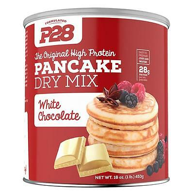NEW P28 Foods White Chocolate Pancake Dry Mix 28g High Protein Meal No GMO CHOP