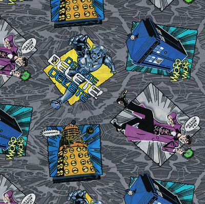 Dr Who Madman on Grey TV Series Licensed Quilt Fabric FQ or Metre *New*