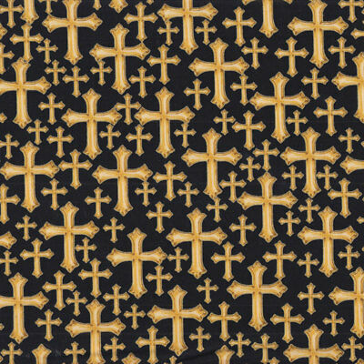 Divine Gold Crosses With Metallic Religion Christian Quilt Fabric FQ or Metre *N