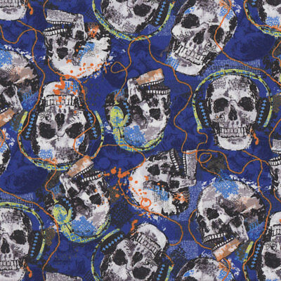 Skulls Rocking With Headphones on Blue Music Quilt Fabric FQ or Metre *New*