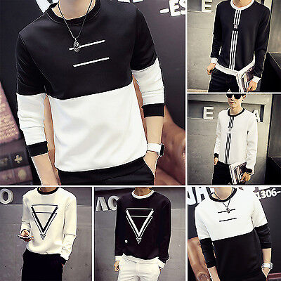 UP New Stylish Slim Fit Casual Shirt Tee Cotton Men's Long Sleeve T-Shirt Hot