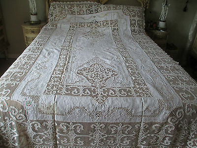 Antique Fine Linen Lace & Handwork Tablecloth & Napkins set 103x65