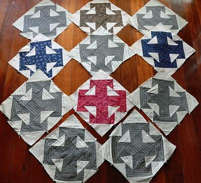 "(11) x 19thc DOUBLE T PATTERN ANTIQUE VINTAGE QUILT BLOCKS - 10"" x 10""- (Set #2)"