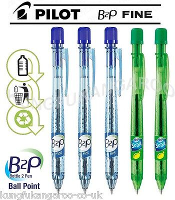 SALE 5 x PILOT Begreen B2P BALL POINT PENS BLUE GREEN RETRACTABLE 94% RECYCLED
