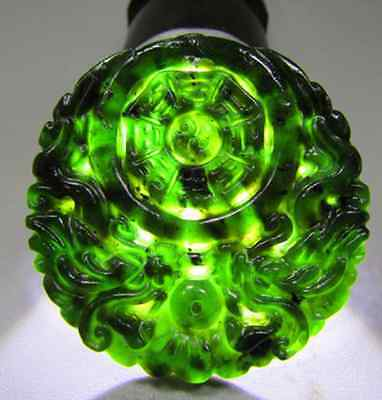 100%Natural chinese black green jade Jadeite pendant necklace dragon hand-carved