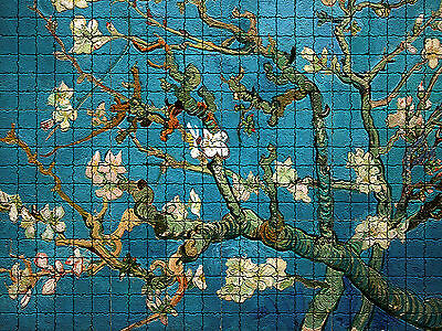 24 x 18 Blossoming Almond van Gogh Tumbled Marble Tile Mural with Mosaic Effect