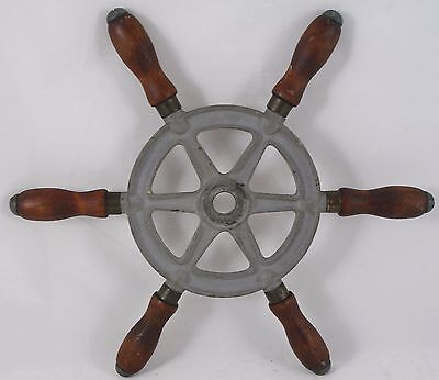 "Antique Steel 12.5"" Ship wheel mahogany handles Wilcox Crittenden nautical decor"