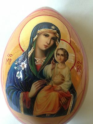Vintage Russian Icon Wooden In Egg Shape Holy Mother With Jesus