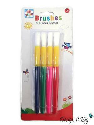 Paint Brush Fat Large Crafts Tipped Children Hobbies 3 Piece Chunky Brushes