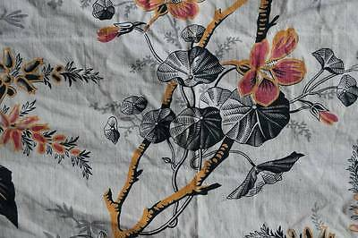 Stunning Antique french Chateau cotton fabric sample curtain c1860s Indienne