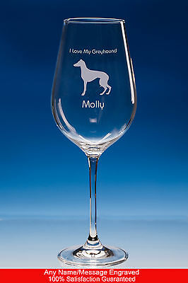 Greyhound Dog Gift Personalised Engraved Fine Quality Wine Glass