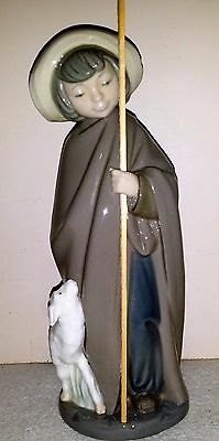 Nao Lladro Spain Figurine Of Young Boy With Sheep