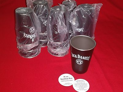 NEW Jack Daniels Black & Stainless Steel Old No.7 Whiskey, Shot, Drink Glass/Cup