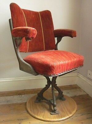 Original Vintage Red Swivel Theatre Cinema Chair Iron Base Old Seating Retro