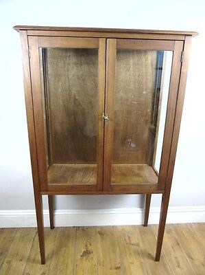 Vintage Oak Glass Shop Display Cabinet Old Wood Antique Wood Cupboard