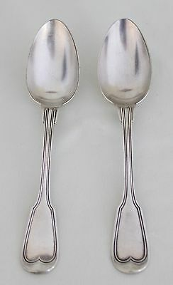 "2 French CHINON FIDDLE & THREAD Silver TABLESPOONS 8.25"" C.Halphen Christofle"