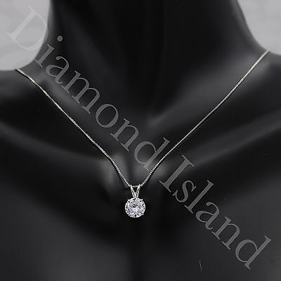 2.5 CT Round Brilliant Cut Real 14k Solid White Gold Pendant Chain Necklace 16''