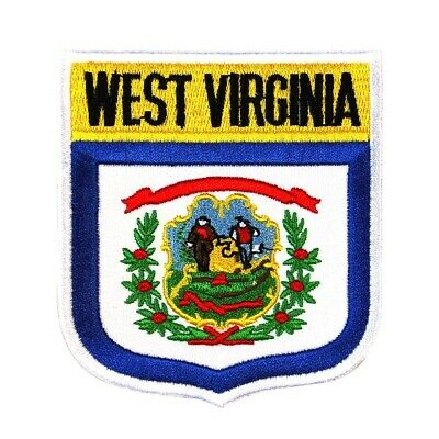 "State Flag Shield ""West Virginia"" Iron-On Badge Patch Travel Souvenir Applique"