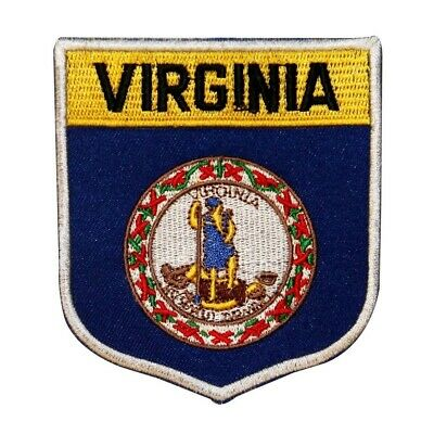 State Flag Shield Virginia Patch Badge Travel USA Embroidered Iron On Applique