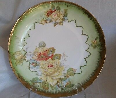 Antique O C SAXE  GERMANY PORCELAIN HAND-PAINTED COLLECTIBLE PLATE Roses& Gold