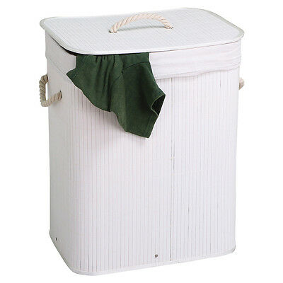 Foldable Rectangular White Wicker Laundry Basket / Linen Storage Bin W/Lid