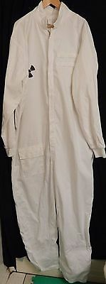 White Coveralls Size XX 50 Cotton Work Shop Nuclear Emblem Bee Keeping Suit cuff