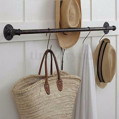 23.6'' x 4.7'' Vintage Industrial Retro Style Rustic Iron Pipe Towel Rail NEW