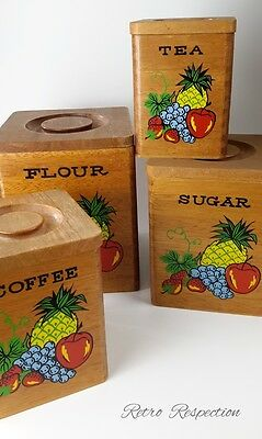 VINTAGE Canister Set - Wooden - Japan - Fruit Pineapple Motif