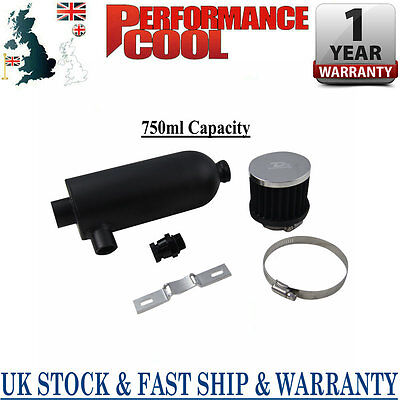 750ml Turbo Engine Racing Oil Catch Can Tank & Breather & Drain Tap NPT BLACK