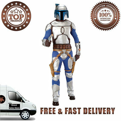 Jango Fett Adult Halloween Costume Jumpsuit Armor Matching Gloves 2PVC Mask Belt