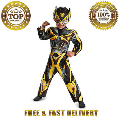 Disguise Hasbro Transformers Movie Bumblebee Toddler Muscle Halloween Costume 4T
