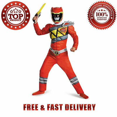Disguise Red Ranger Dino Charge Muscle Costume Small 10 12 Years Boys Polyester