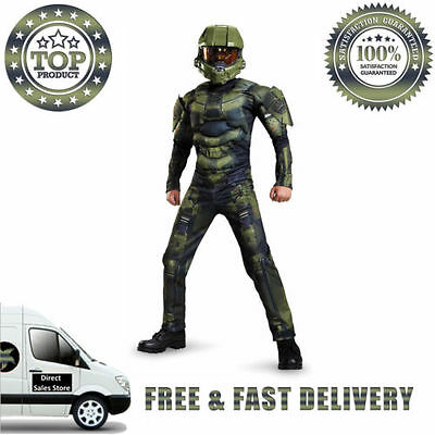 HALO Master Chief Classic Muscle Costume 7 9 Years Jumpsuit Torso Arms Mask Set