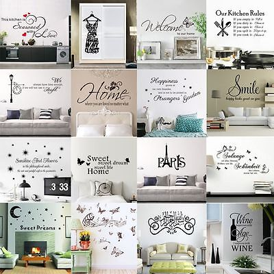 Black Family Quote DIY Removable Wall Sticker Art Vinyl Decal Home Bedroom Decor