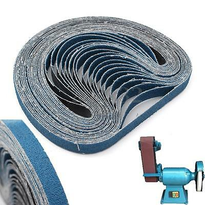 20Pcs 330X10mm P60 Grit Blue Alumina Oxide Abrasive Sanding Belt for Metal Auto