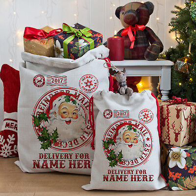 Personalised Santa Father Christmas Present Bag Xmas Stocking Gift Sack NS002