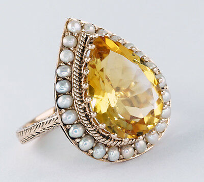 C864 Genuine 9ct Solid Rose Gold NATURAL Citrine & Pearl Ring made in your size